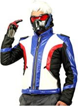 Soldier 76 Jacket PU Leather Jacket Cool Coat Hot Game Cosplay Costume