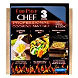 Home Solutions Fire Prep Chef - BBQ Mat, Crispy Baking Mat, Flexible Cutting Mat - 3 Piece Set
