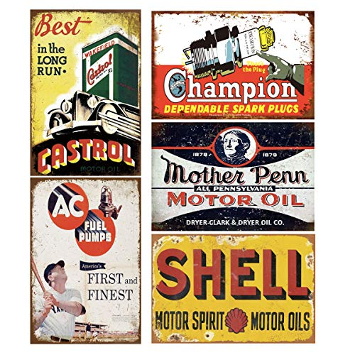 Tin Signs 5 Pieces Reproduction Vintage, Gas Oil Metal Signs, Home Kitchen Man Cave Bar Garage Wall Decor, 8x12 Inch (Best Castrol)