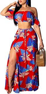 Geulis Women's Off Two Piece Print Tube Crop Top Maxi Skirt Sets Clubwear