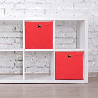 A-Generic Un Ensemble de 2 boîtes de Rangement carrées en Tissu cubique 30x30x30 cm de Polyester Rouge 30 x 30 x 30 cm-Rouge