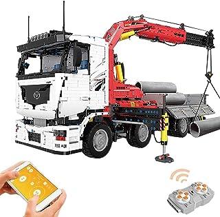 Building Block Remote Control Crane Truck, Electric Model Car Boy Puzzle Building Block Toy, Compatible with Most Brand Bu...