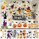 Konsait 43pcs Halloween Decals Window Stickers Clings Happy Halloween Bat Black Cat Witch Ghosts Pumpkin Window Decal for Trick or Treat Accessories Halloween Party Decorations Supplies Favor