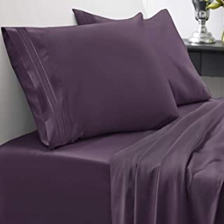 1800 Thread Count Sheet Set – Soft Egyptian Quality Brushed Microfiber Hypoallergenic Sheets – Luxury Bedding Set with Flat Sheet, Fitted Sheet, 2 Pillow Cases, King, Purple
