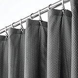 mDesign Luxus Duschvorhang – weicher Badewannenvorhang mit Waffelmuster – leicht zu pflegener & waschmaschinenfester Badvorhang – dunkelgrau