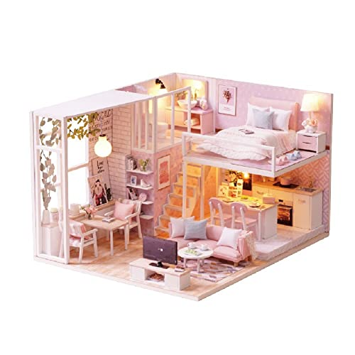 Street DIY Doll House Miniature Wooden Furniture Boy Girl Birthday Xmas Gift