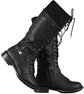ff334ea272e83 Syktkmx Womens Winter Lace Up Strappy Knee High Motorcycle Riding Flat Low  Heel Boots