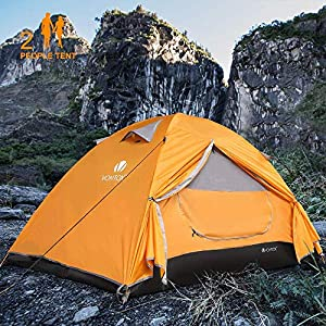 V VONTOX Camping Tent, Dome 2 Person Lightweight Backpacking Tent Waterproof Two Doors, Easy Setup, for Family in Traveling, Beach, Camping and Outdoor Activity