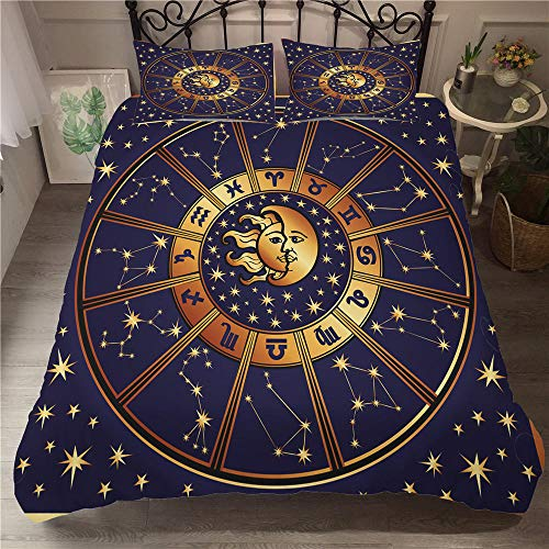 CGZLNL Microfiber Duvet Cover Set Twelve constellations 86.6x94.5 inch Easy Care Anti Allergic Soft & Smooth Bedding Set +2Pillow Cases 19.7 X 29.5 inch