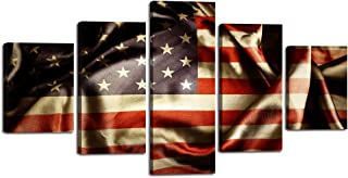 Vintage Style American Flag Canvas Retro US Wall Art Painting 5 Panel Modern Posters and Prints Pictures for Living Room, Home Decor USA Flag Framed Stretched, Black White Red(60''W x 32''H)