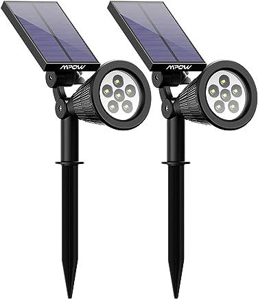 Mpow [2 Pack] 6 LED Lampe Solaire Extérieur, Eclairage Extérieur Etanche IP65 Lampe Jardin Réglable avec Panneau Solaire 180° Spot Solaire Extérieur pour Jardin, Cour, Extérieur, Chemin, Allée