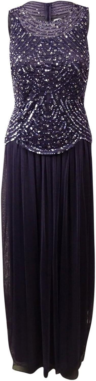 Patra Womens Sequined Sleeveless Formal Dress Purple 6