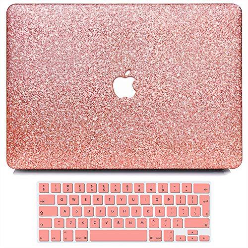 Belk Custodia Compatibile con MacBook PRO 15 Pollici 2019 2018 2017 2016 con Touch Bar A1990 A1707 Case, Ultra Sottile Liscio Plastica Rigida Cover con Copertura della Tastiera - Luccichio Oro Rosa