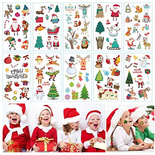 Lim Temporary Tattoo Natalizi 10 Fogli Tatuaggio di Natale Tatuaggi Temporanei per Bambini Natale Adesivo Tattoos per Ragazzi Ragazze Autoadesivo del Tatuaggio di Natale Perfetto Festa Bag Filler