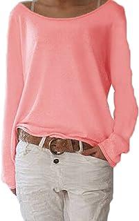 ZIOOER Mujeres Suelto Jersey Suéter Pullover Cárdigan Camiseta Cuello Redondo con Manga Larga Sudadera Cardigan Casual Jer...