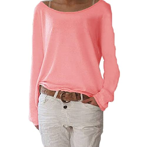 7b503077c0 ZIOOER Damen Pulli Langarm T-Shirt Rundhals Ausschnitt Lose Bluse  Langarmshirts Hemd Pullover Sweatshirt Oberteil