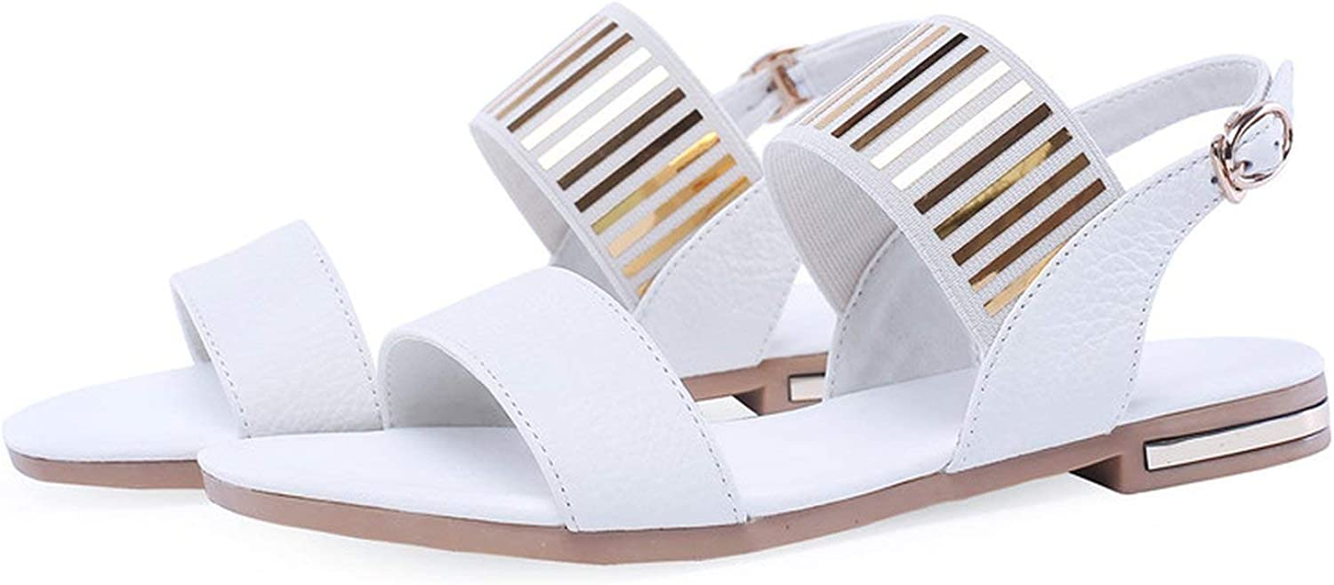 Peony red Large Size 34-46 Fashion Summer New shoes Woman Buckle Sandals Women Casual Genuine Leather shoes Women 2019