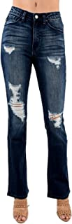 Kan Can Women's High Rise Destroyed Bootcut Jeans KC5075