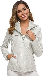 Dawwoti Women's Hooded Leather Jacket Double Zipper Casual Top