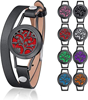 Supcare Aromatherapy Locket Bracelet/Leather Watch Band Adjustable for Essential Oil Diffuser, Stainless Steel Black Locket Bracelet, Leather Wrist Watch Strap Wrist Fashion Jewelry for Women/Men