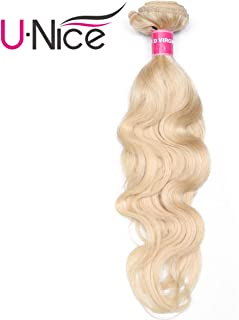 UNice 10A Grade Brazilian Blonde Body Wave Remy Hair 1 Bundles 613 Color Human Hair Extensions Weave (18inch, 613Color)