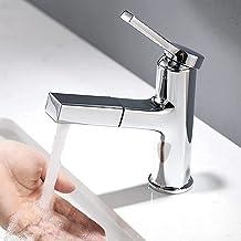 Lonheo Kraan badkamerkraan met uittrekbare douche voor het wassen van het haar, chroom wastafelarmatuur wastafelarmatuur v...