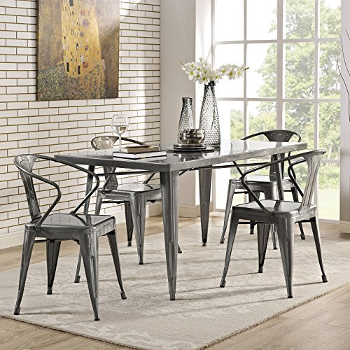 Modway Alacrity 60 Rustic Modern Farmhouse Stainless Steel Metal Rectangle Kitchen and Dining Room Table in Gunmetal