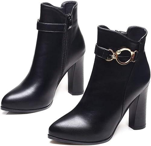 AJUNR Transpirable El otoño y el Invierno Pointy Sexy Martin botas Gruesa Hebilla de Metal Las botas Cortas