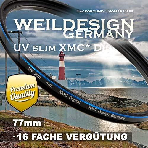 UV Filter 77mm Slim XMC Digital Weil Design Germany * Objektivschutz * blockt ultraviolettes Licht * Frontgewinde * 16 Fach vergütet * inkl. Filterbox (UV Filter 77mm)