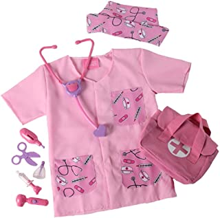 Pink Lil' Nurse/Doctor Costume, Medical Bag and Toy First Aid Play Set (Choose Size)