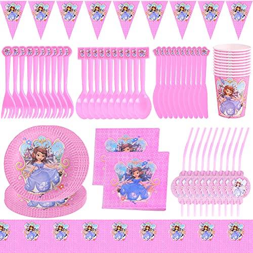 BKJJ Princess Juego de fiesta de cumpleaños 82 Piezas Decoraciones Cumpleaños Princess Vajilla de Fiesta TemÁTica de Disney Decoraciones para Cumpleaños