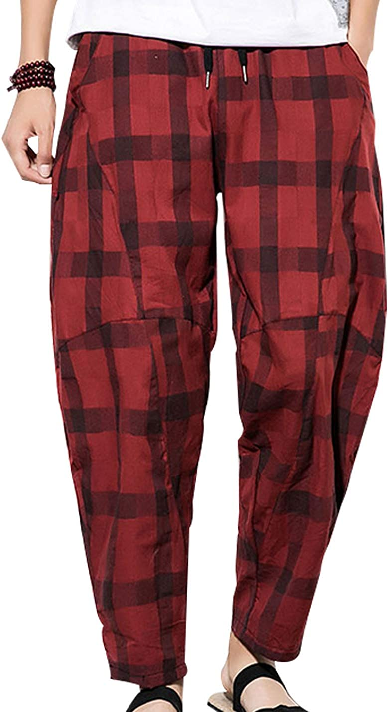 Uaneo Mens Plaid Cotton Casual Elastic Drawstring Waist Tapered Leg Jogger Pant(Red-S)