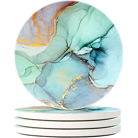 Set of 1 Absorbent Round Stone Coasters with Cork Base,for Kinds of Mugs and Cups Qilmy Pale Blue Marble Ceramic Round Coasters for Drinks