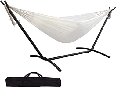 SUNLAX Brazilian Double Hammock with Stand Two Person Adjustable Portable Carrying Case Included for Backyard, Porch, Outdoor
