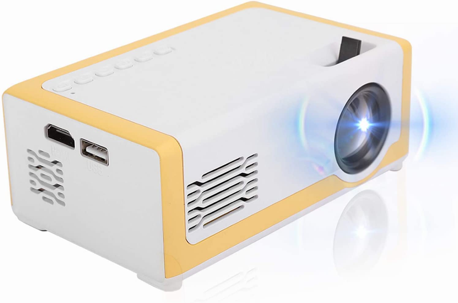 Mini Projector, Portable LED Full Color HD Video Projector 16:9 Screen Indoor Movie Projector for Home Theater with Support AV/HDMI/USB/SD /Memory Card, Remote Control