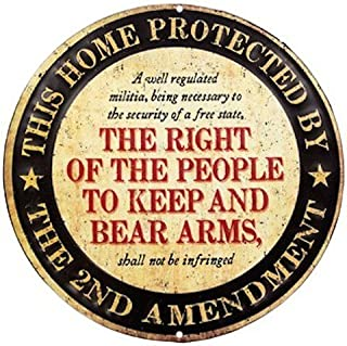 This Home Protected by 2nd Amendment Embossed Metal Sign Round Vintage Man Cave Decor