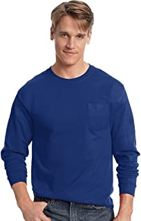 Hanes Tagless Long Sleeve T-Shirt with a Pocket, Deep Royal, X-Large