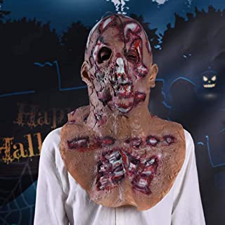 Horrible Bloody Face Off Halloween Costume Mask Latex Full Head Peel Off Face Party Mask Novelty Scary Mask for Men Women