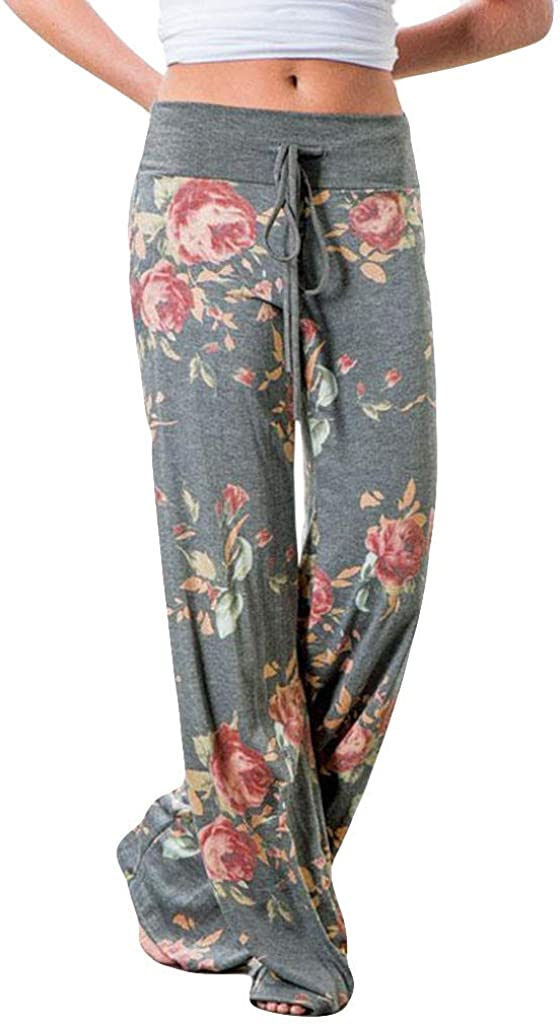 Sweatpants for Women Plus Size,Women's Comfy Pajamas Pants Casual Floral Wide Leg Pants Drawstring Palazzo Lounge Pants