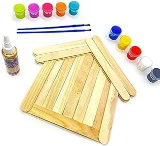 Krafty Kitz - Creativity Activity Pack - Craft Sticks, Tacky Glue & Tempera Paint Pots with Brushes