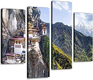 Taktshang Goemba or Tiger's nest Temple or Tiger's nest monaster Canvas Wall Art Hanging Paintings Modern Artwork Abstract Picture Prints Home Decoration Gift Unique Designed Framed 4 Panel
