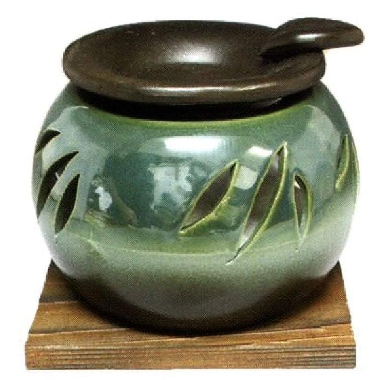 意見ミットオリエンタル常滑焼?山房窯 カ40-10 茶香炉 杉板付 約φ11.3×8.4cm