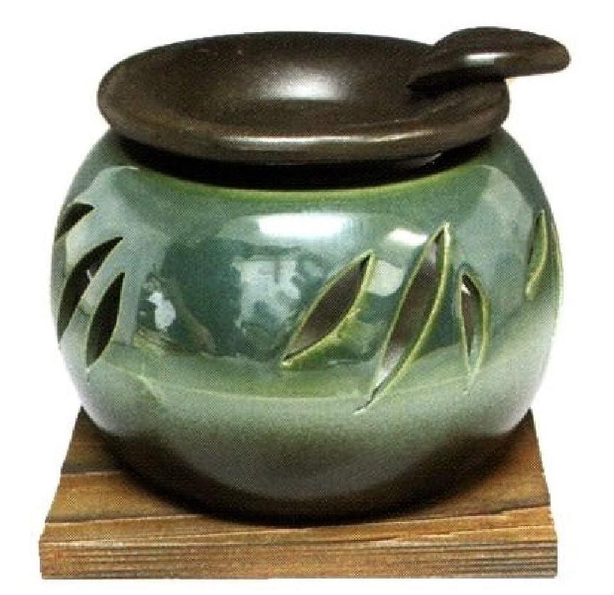 野な満足生物学常滑焼?山房窯 カ40-10 茶香炉 杉板付 約φ11.3×8.4cm