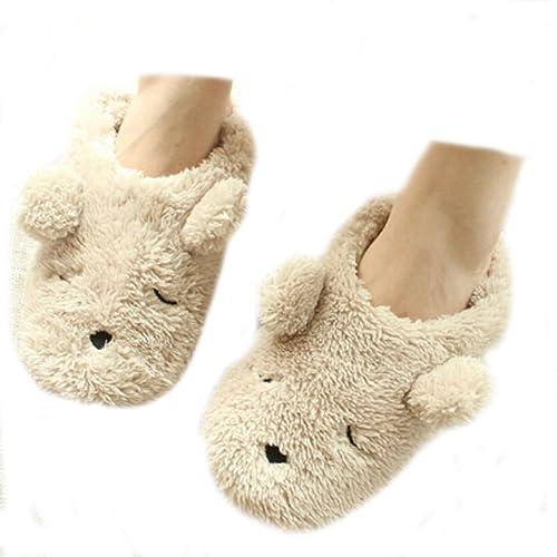 fa9ef3e27 Womens Indoor Warm Fleece Slippers Ladies Girls Cartoon Winter Soft Cozy  Booties Non-Slip Plush
