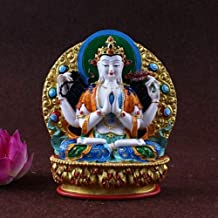 PPCP Buddha Ornament Four-Armed Kwan Yin Guan Statue Figure Colored Altar Wit