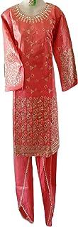 Punjabi Heavy Mirror Work With Shot Shirt & Patilia Shalwar Traditional Pakistani Ready to Wear Dress for women/Girls, Blu...