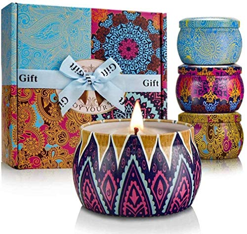 Candles for Home Scented Candle Gift Set Mother's Day Strong Fragrance Aromatherapy Long Burn Time Natural Soy Wax with Essential Oils Portable Travel Tin for Stress Relief Bath Yoga 4 Pack 4.4 oz