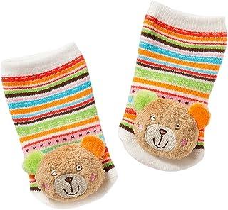 Fehn Fehn 091519 Rasselsöckchen Teddy / Activity-Babysöckchen mit niedlichen Tier-Köpfchen zum Greifen, Rasseln, Strampeln & Geräusche erzeugen, Lernspielzeug für Babys von 0-12 Monaten
