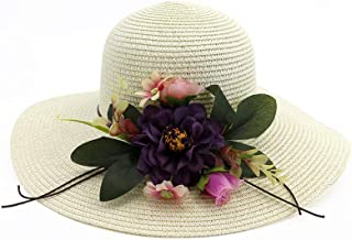 SHENTIANWEI Floral Sun Hat Wide-brimmed Hat Summer Hat Ladies Beach Panama Straw Dome Shadow Hat