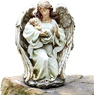 Josephs Studio Garden Statue, 63650, Guardian Angel Kneeling and Holding a Baby, 17 inches tall